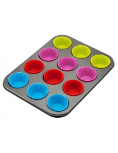 Muffin pan with silicone cup