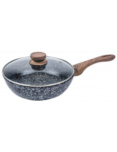 Forged wok with glass lid