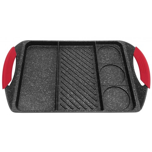 Casting nonstick grill pan with marble coating : KH-1420