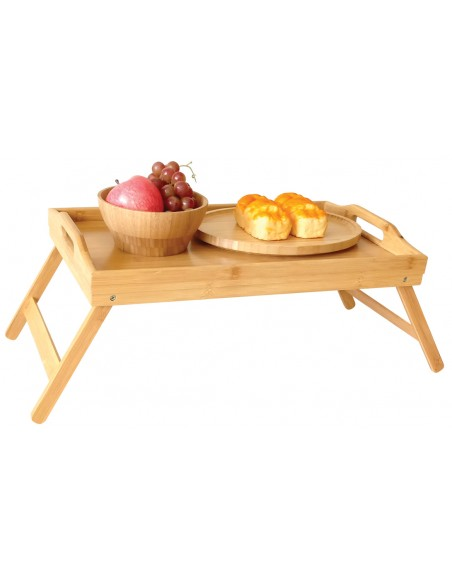 Bamboo serving tray with folding legs - Kinghoff : KH-1502